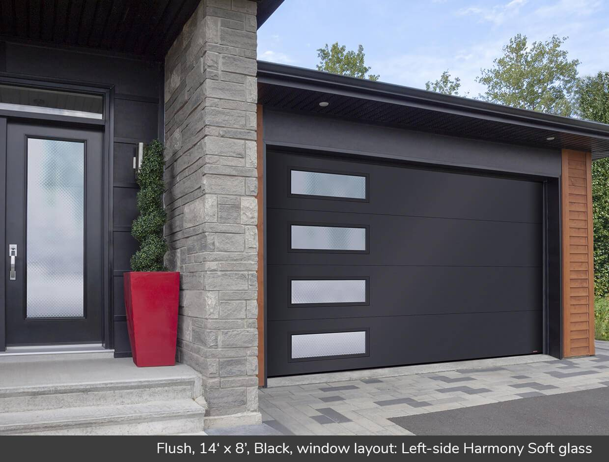 Flush, 14' x 8', Black, window layout: Left-side Harmony, Soft glass
