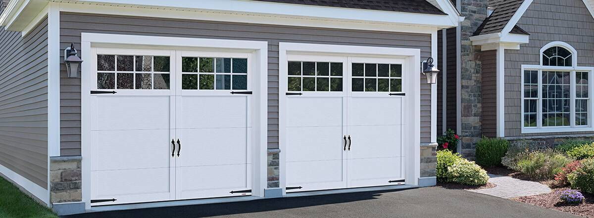 Princeton P-11, 9' x 8', Ice White doors and overlays, 8 lite Panoramic windows